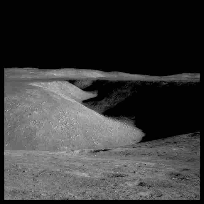 Hadley Rille: 80 miles long, 1 mile wide and 1,000 feet deep, photographed by James Irwin, Apollo 15, July 26-Aug. 7, 1971