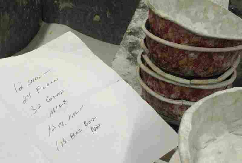 Some hastily scrawled recipe notes at the Berger cookie factory.