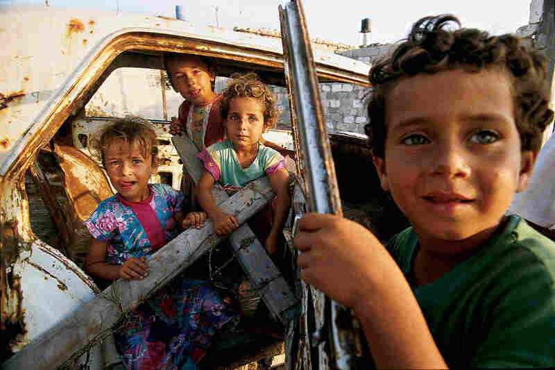 Unsupervised children play in Shati refugee camp in Gaza, July 1993.