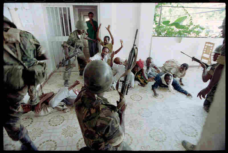 Nigerian United Nations troops from Operation Restore Hope arrested these Somali snipers allied with warlord Muhummad Farah Aidid's militia. Mogadishu, Somalia, February 1993.
