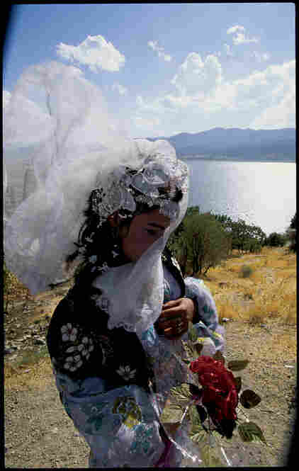 Khial Ali, 17, a Kurdish bride at Zarivar Lake. Marivan, Iran, September 1998.