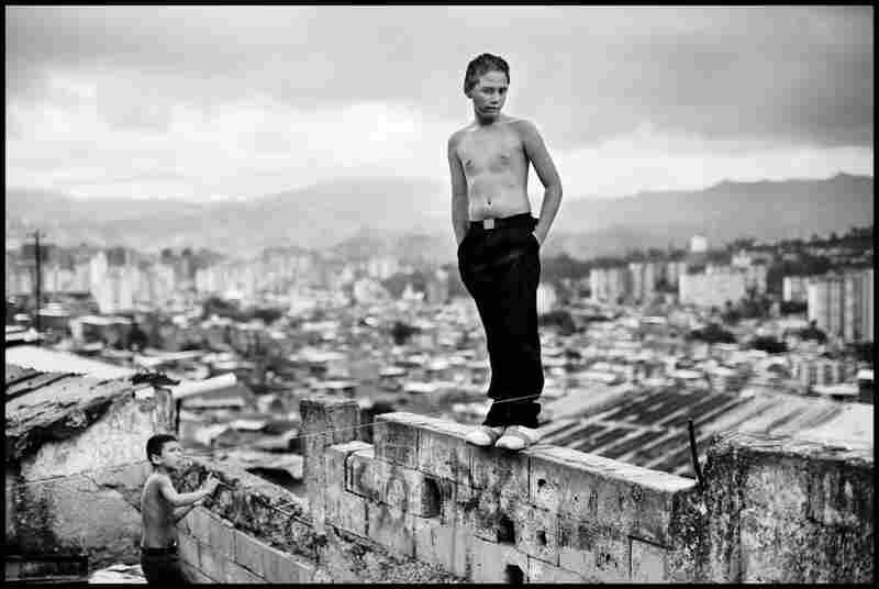 Boys play in a slum overlooking Caracas, 2007.