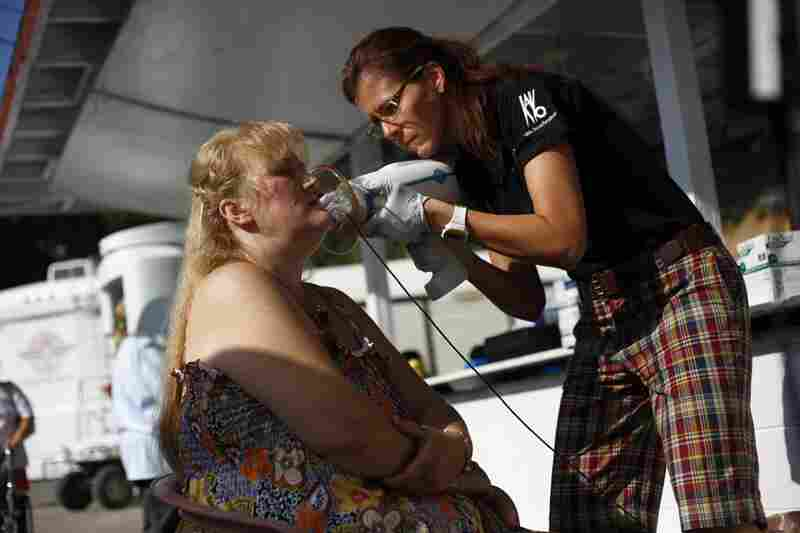 Karen Krauss performs a dental X-ray on Miller. The results are available almost immediately.
