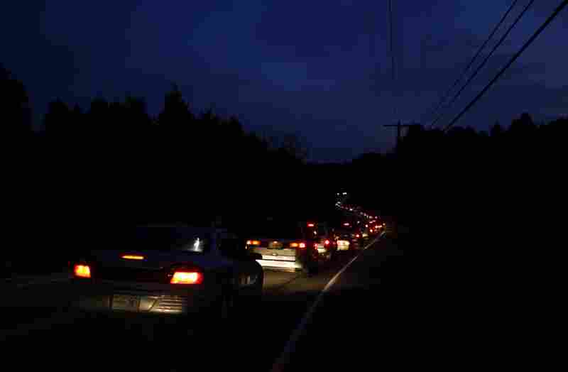 Traffic backs up at 5:30 a.m., about a mile from the Wise County Fairgrounds, before the opening of the tenth Remote Area Medical Expedition in Wise, Va.