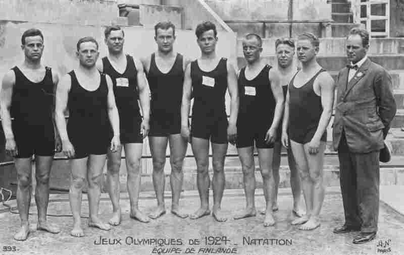 The Finnish swimming team opts for a little more coverage during the 1924 Olympic Games in Paris. Perhaps this was the start of a trend.