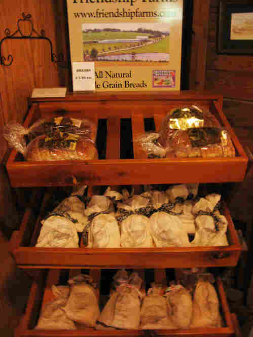 Bread for sale in the gift shop of the Saint Vincent's Gristmill.  The bread — baked using flour ground in the mill — is also sold in local shops and supermarkets.