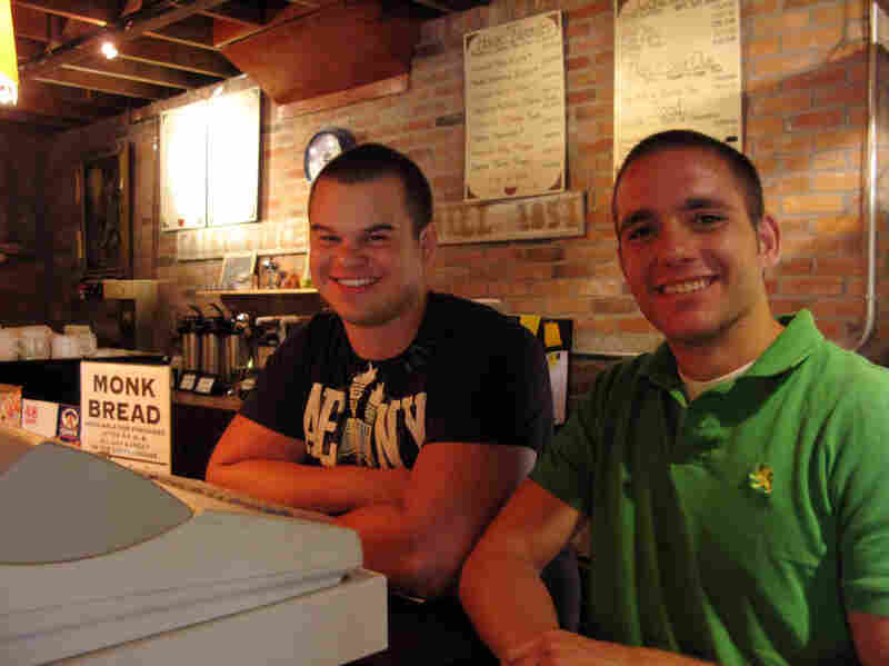 Ryan Hrobak and Ed Moss work in the Coffeehouse.  Both are juniors at Saint Vincent College.