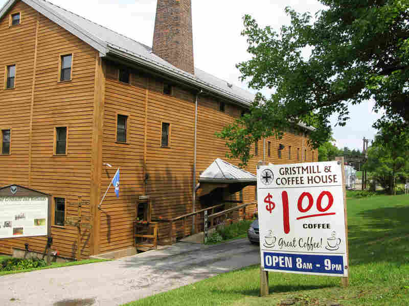 The Saint Vincent Gristmill, built by the monks of the Archabbey in 1854 to meet the milling needs of both the monastery and the community.  The Gristmill's latest addition is a Coffeehouse, run by students of Saint Vincent College.