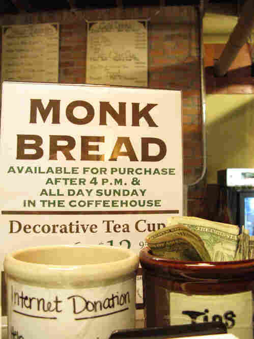 """""""Monk Bread"""" made using flour from the Gristmill is also sold inside the Coffeehouse, where donations for wireless internet are graciously accepted."""