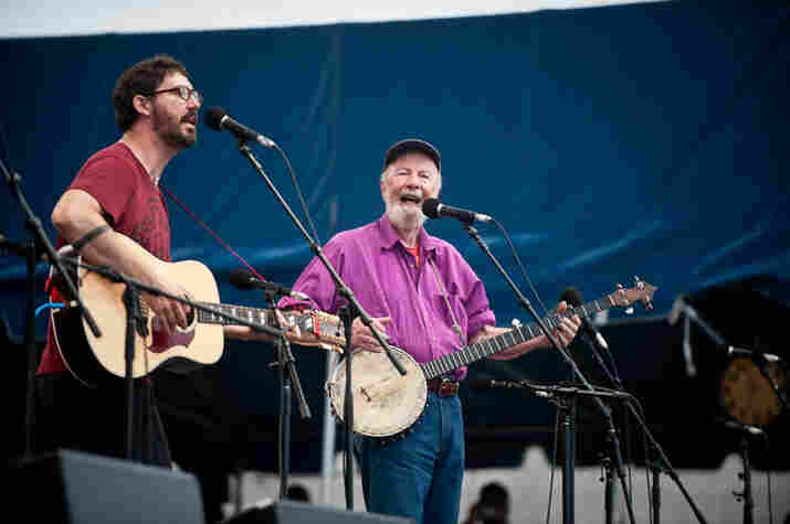 After a stunning set from Judy Collins, Tao Rodriguez and his grandfather, Pete Seeger, led Sunday night's singalong at Newport.