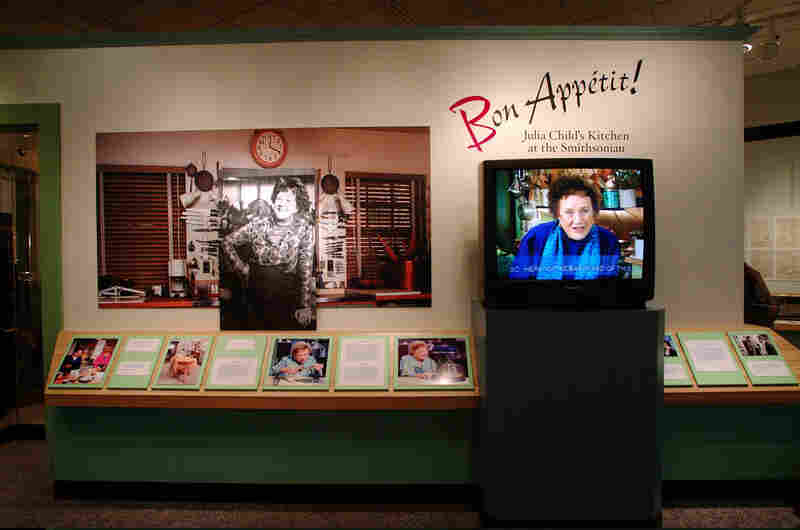 "On one wall, visitors can see highlights of Child's life and a 90-minute video, ""Julia Child's Kitchen Wisdom."""