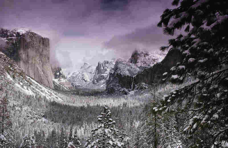 This winter view from the west of Yosemite Valley recalls a famous Ansel Adams image.