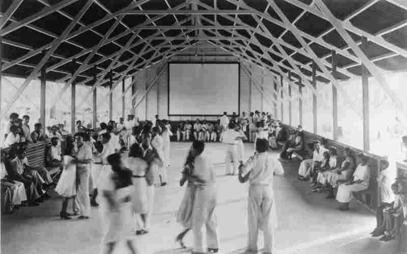 Attempting to import American culture into the Amazon, Fordlandia offered residents a dance hall, with a movie screen on the back wall.