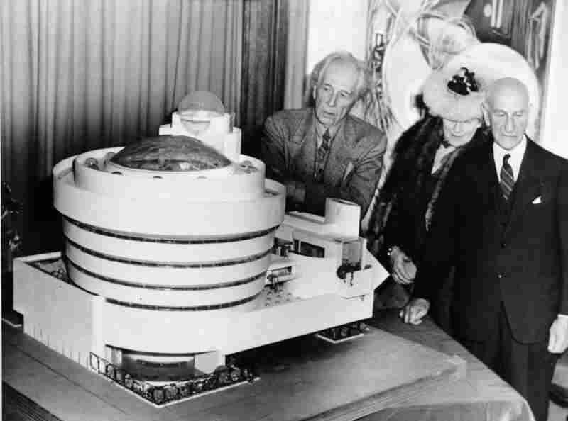 Wright (left) looks over his spiral-shaped model of the Guggenheim with its namesake patron and the Baroness Hilla Rebay, an artist and director of the proposed museum, in New York City on Sept. 20, 1945.
