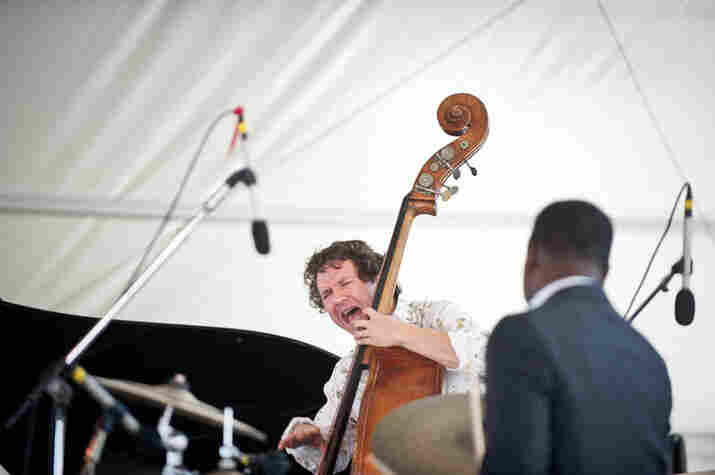 Stephan Crump (bass) and Marcus Gilmore (drums) perform with the Vijay Iyer Trio.
