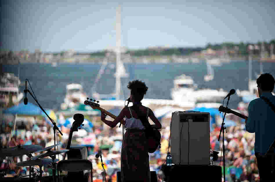 Esperanza Spalding plays to the Newport crowd.