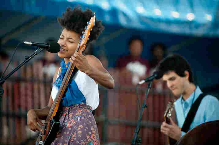 Esperanza Spalding plays to the Newport crowd.