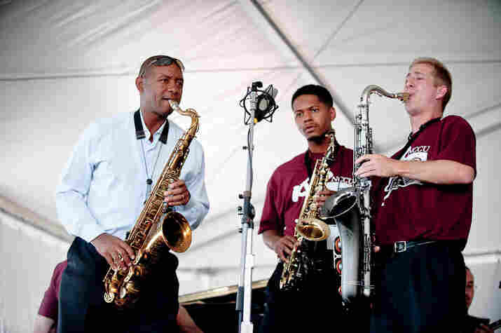 Branford Marsalis joins the North Carolina Central University Big Band onstage.