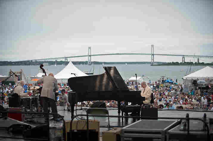 The Dave Brubeck Quartet plays to the Newport crowd.
