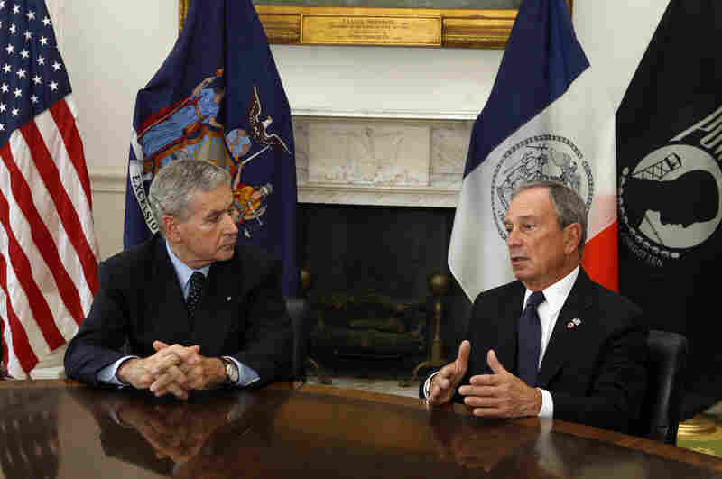 Italy's ambassador to the U.S., Giovanni Castellaneta, left, and New York Mayor Michael Bloomberg discuss Saturday's mid-air collision. Among the dead were five Italian tourists aboard the sight-seeing helicopter.