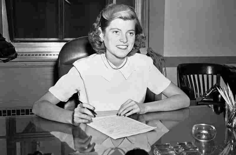 Eunice Kennedy Shriver, who founded the Special Olympics, died Tuesday at the age of 88.  Here, she sits at her desk at the Justice Department on March 22, 1948.