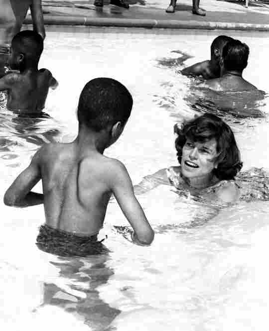 Shriver dedicated her life to improving the lives of mentally challenged children. Here she swims at a camp in Philadelphia's Fairmount Park.