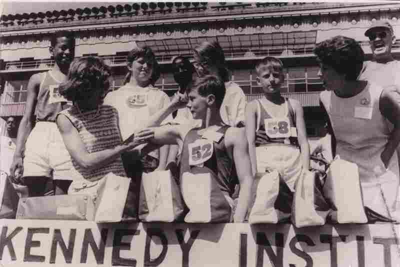 Shriver with athletes at the first Special Olympics in 1968.