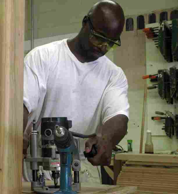 This time in prison, Derrick Poole was able to take advantage of Folsom's mill and cabinetry program. Only 10 percent of Folsom inmates are able to take part in a vocational program.
