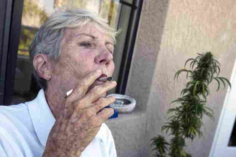 Before heading off to swim practice, Bouer smokes a joint filled with cannibis she's grown.