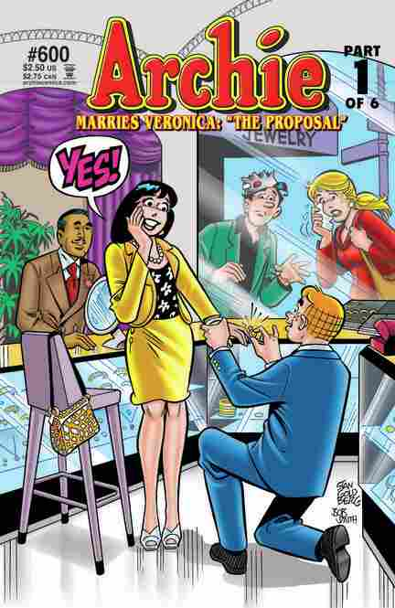 After 67 years, in the first of a six-issue series, the longest love triangle in comics history appears to come to an end: Archie proposes — not to Betty, the blonde girl next door, but to Veronica, the dark-haired beauty and Riverdale's rich girl.
