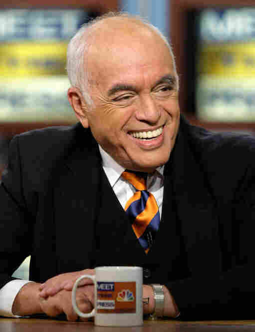 Over the years, Novak became a well-known TV personality as well as a columnist. Here, Novak speaks during a taping of Meet the Press on Feb. 17, 2008, at the NBC studios in Washington, D.C.