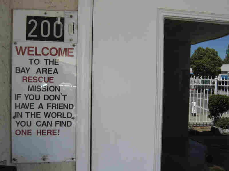 This sign greets up to 1,200 people who come to the mission each day.