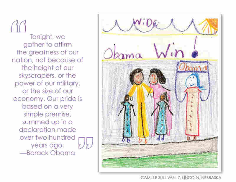 Overall, the book highlights children's enthusiasm for President Obama.  Camille Sullivan, 7, Lincoln, Neb.