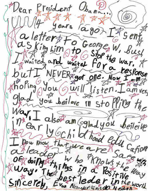 While some letters congratulate Obama on his win, many also touch on issues such as the economy, the environment and the war in Iraq.  Evan Alexander Lincoln Neiden, 9, New York