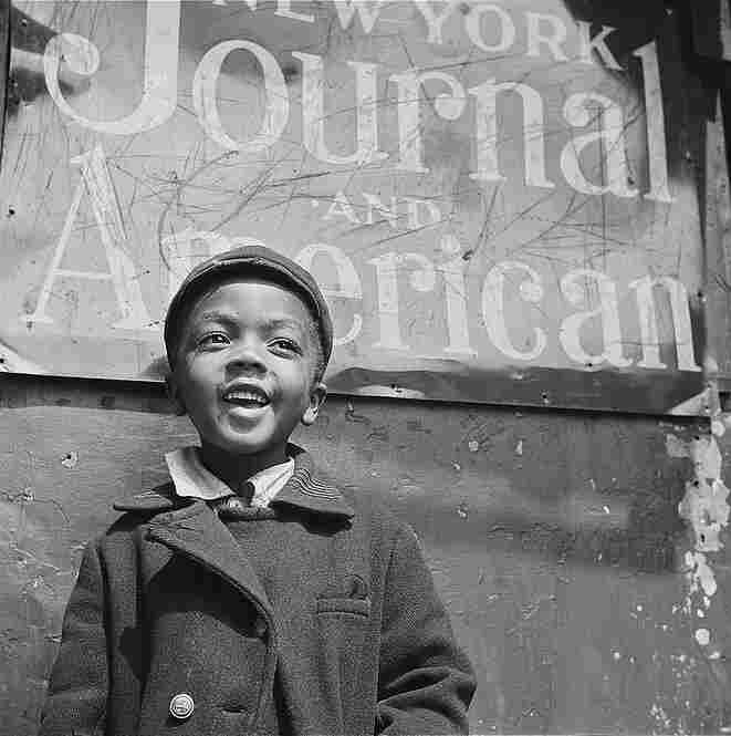 This image of a Harlem newsboy was taken in New York City in 1943, while Parks worked for the Farm Security Administration.