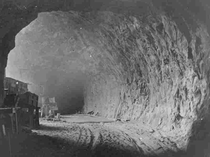 Tunnel workers used hard rock mining techniques to cut and blast through the sandstone mountainside along Pine Creek Canyon in Zion National Park. Credit: Lynne Clark Old Photo Collection