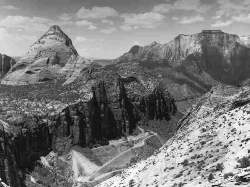 The Zion Tunnel approach road in the late 1920s is pictured here. The tunnel begins in the canyon wall near the left center of the image and stays just inside the canyon wall for the extent of its one-mile length. Credit: National Park Service