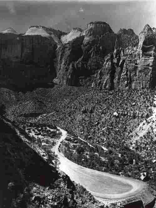 The road leading up from the canyon floor to Zion Tunnel's west entrance was a major engineering feat itself. Credit: O.M. Uhl