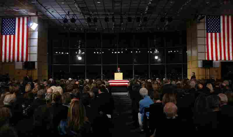 """Kennedy's family and friends gathered Friday evening for a private Irish-style wake featuring prayer, song and humor at the JFK Library. Massachusetts Gov. Deval Patrick, at left, told the mourners Kennedy was """"a master of the Senate,"""" not just because he knew his colleagues' foibles, but because he so clearly respected their humanity."""