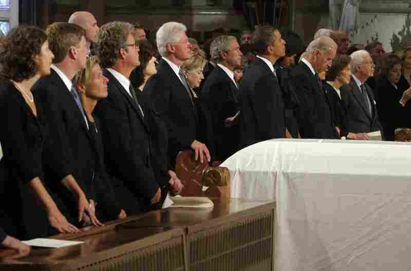 Former President Bill Clinton, Secretary of State Hillary Clinton, former President George W. Bush, President Obama, first lady Michelle Obama, Vice President Joseph Biden, former first lady Rosalynn Carter and former President Jimmy Carter attended the funeral.