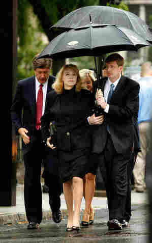 Kennedy's son, Rep. Patrick Kennedy, escorts his mother Joan Bennett Kennedy to the funeral at Our Lady of Perpetual Help Basilica in Boston.