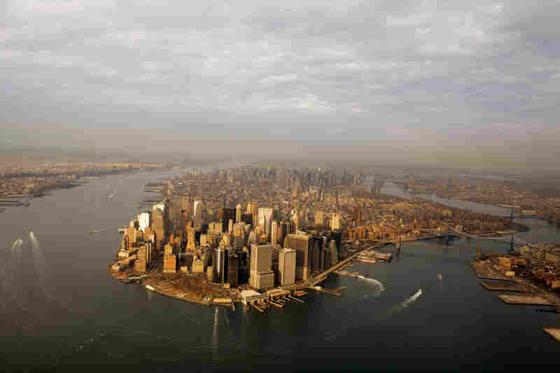 This present-day view of Manhattan Island shows a modern, metallic landscape.
