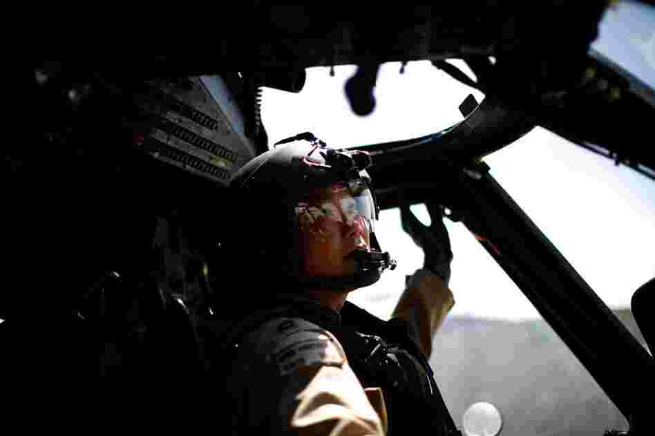 CSAR Capt. Hung Nguyen starts up the engines on his Pave Hawk helicopter for yet another mission.