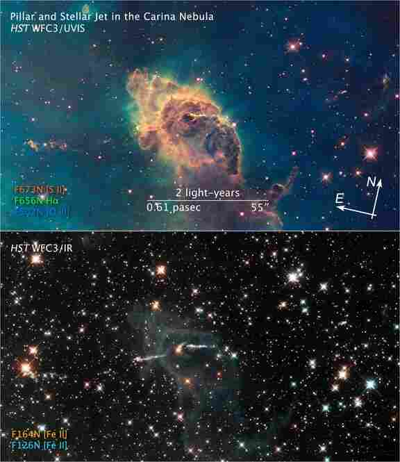 Stars burst to life in the Carina Nebula. These images demonstrate two ways in which the Hubble takes photos: in visible light (top image) and in infrared light. The bottom image, taken in near-infrared light, shows the stars behind the dust cloud, as infrared light can pass through dust.