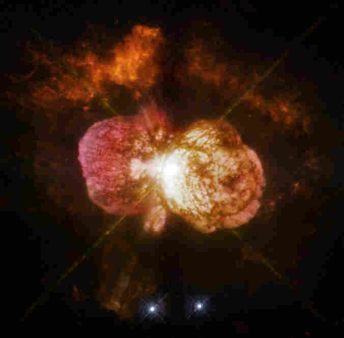 Eta Carinae, one of the most massive stars in our galaxy, suffered a giant outburst about 150 years ago, which made it one of the brightest stars in the southern sky. Hubble's new camera does justice to its brilliant coloration.