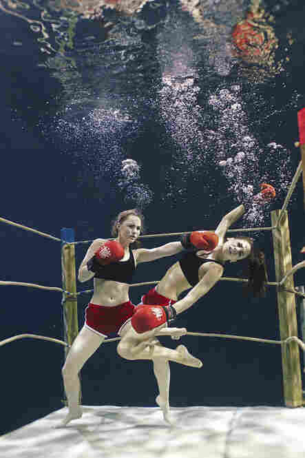 Synchronized swimmers show off their boxing skills