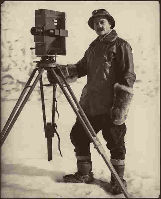 Self Portrait, Antarctica, 1911-1912. Herbert Ponting, considered the father of polar photography, poses by a movie camera and tripod. He spent 14 months on Antarctica's Cape Evan with Capt. Robert Falcon Scott's exploration team.