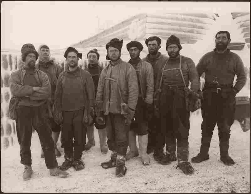 Scott Expedition Team, Antarctica, 1911-1912. This unpublished photograph shows Robert Falcon Scott's exploration team before it reached the South Pole.