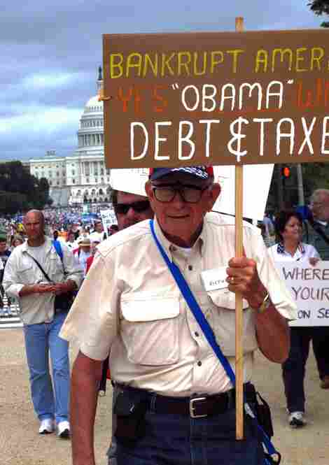 Protestors railed against what they characterize as President Obama's fiscal recklesness.
