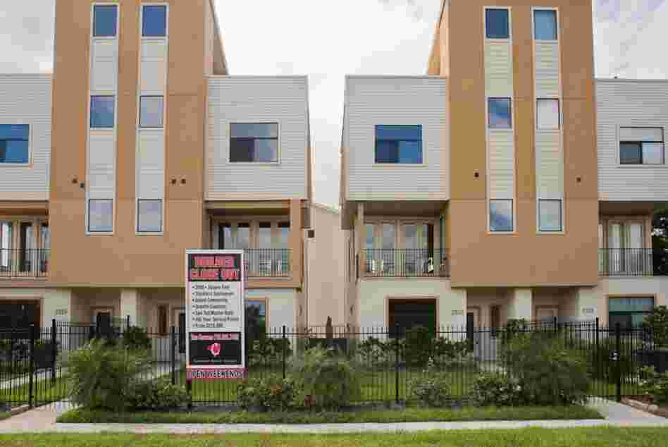 New town houses are for sale on the west side of the Third Ward.